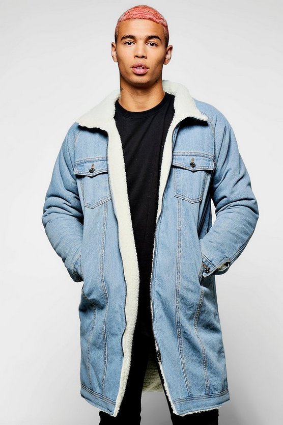 Longline Fully Borg Lined Denim Jacket
