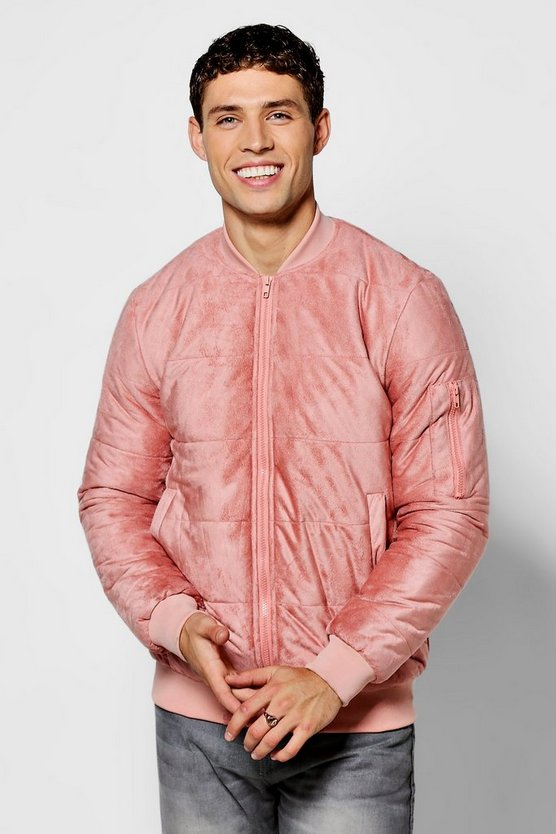 Quilted Faux Suede Bomber Jacket