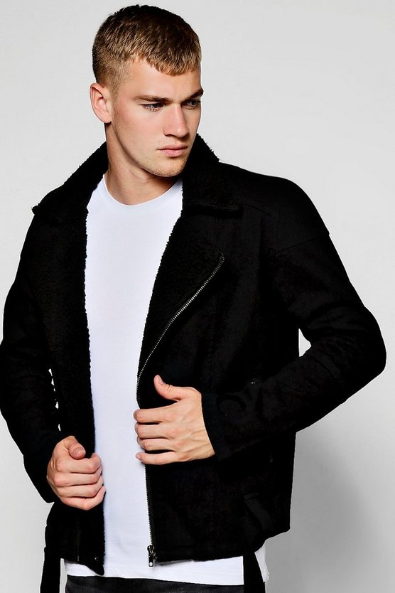 Black Denim Biker Jacket With Borg Collar by Boohoo Man