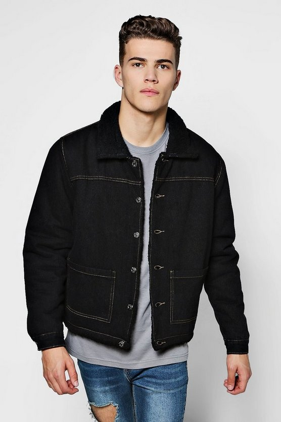 Mens Black Fully Borg Lined Denim Jacket