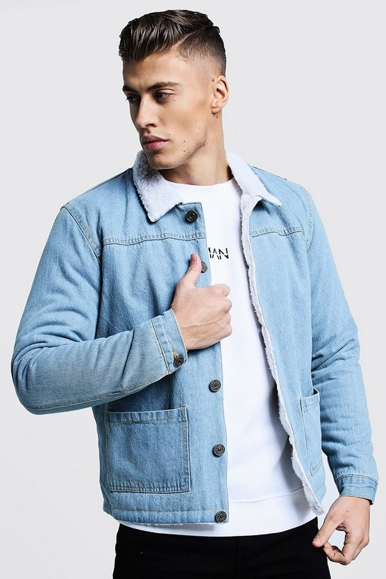 Mens Mid Blue Fully Borg Lined Denim Jacket