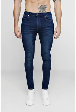 Mens Dark Washed Indigo Super Skinny Fit Jeans