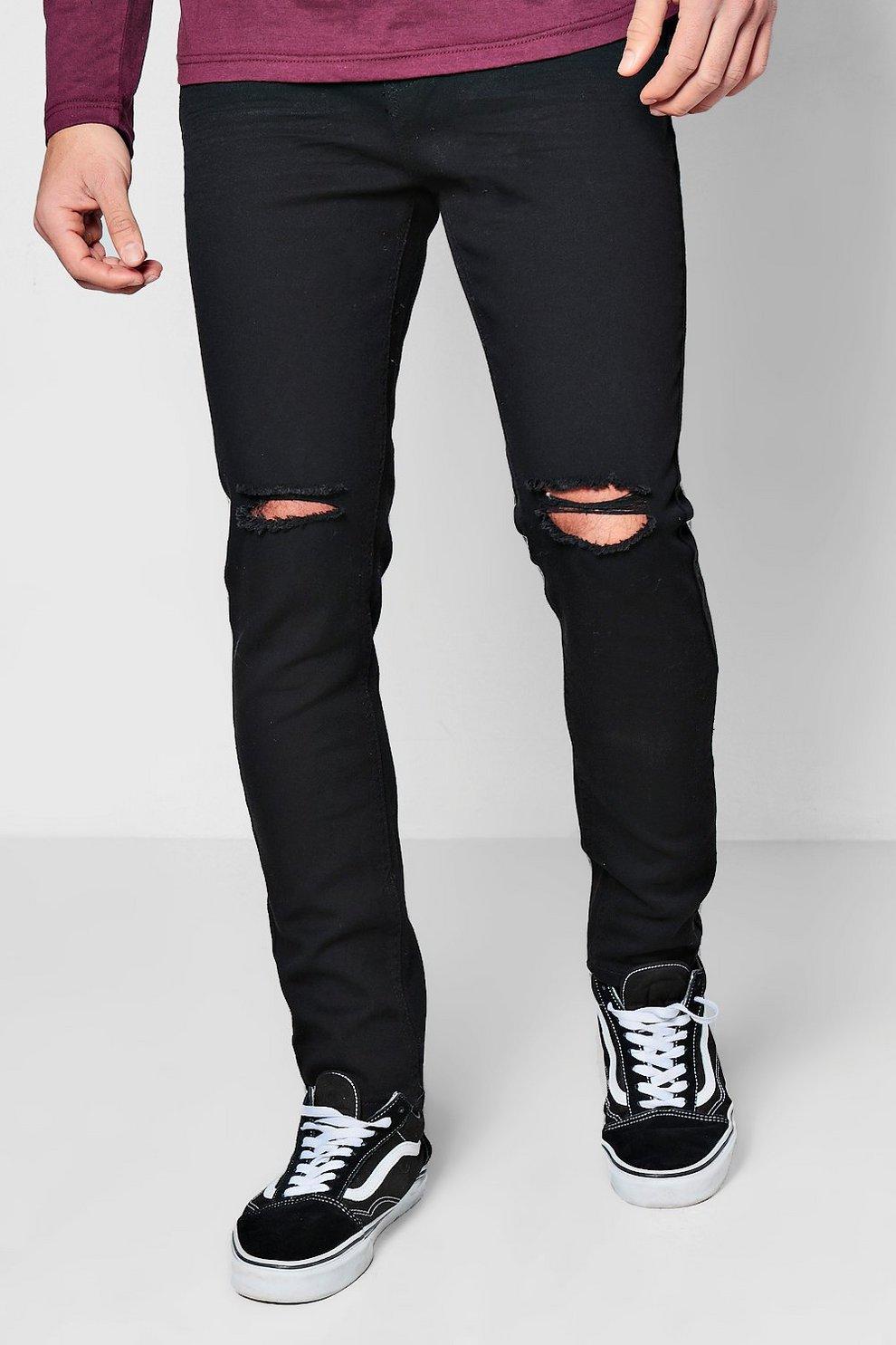 9aa844eef0 Skinny Fit Ripped Knee Denim Jeans Black. Hover to zoom