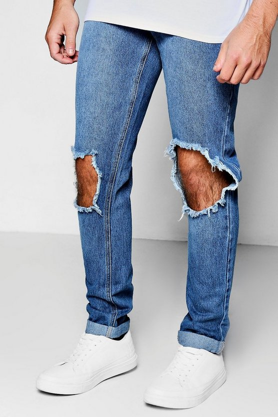 Mid Blue Ripped Knee Skinny Rigid Jeans