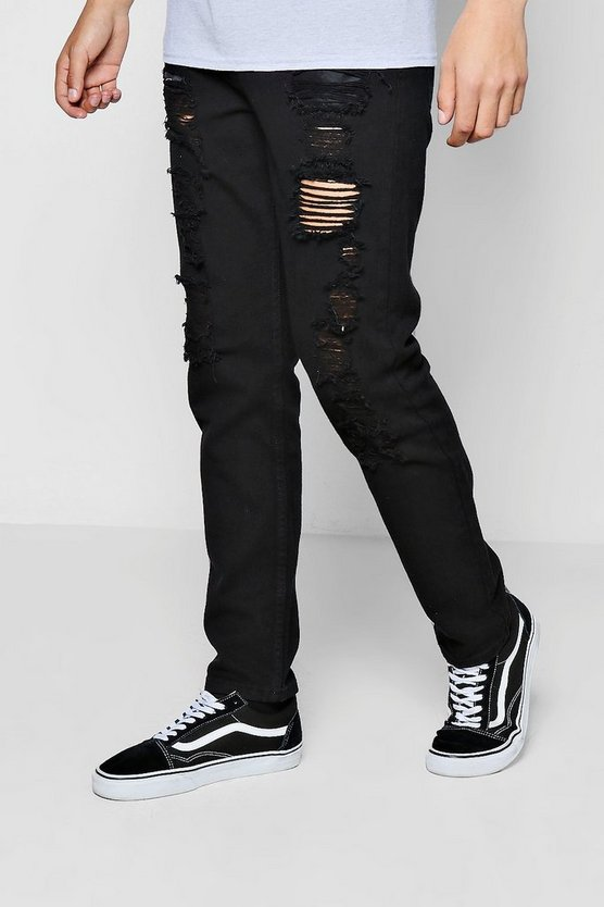 Black Slim Fit All Over Ripped Denim Jeans
