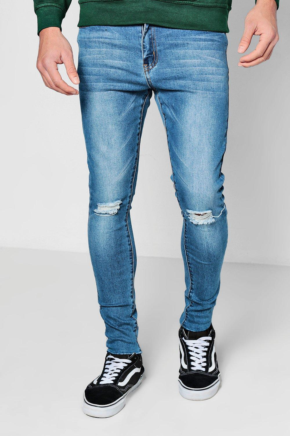 Edge mid Jeans On blue Raw Skinny Spray Distressed xqR7wFqP