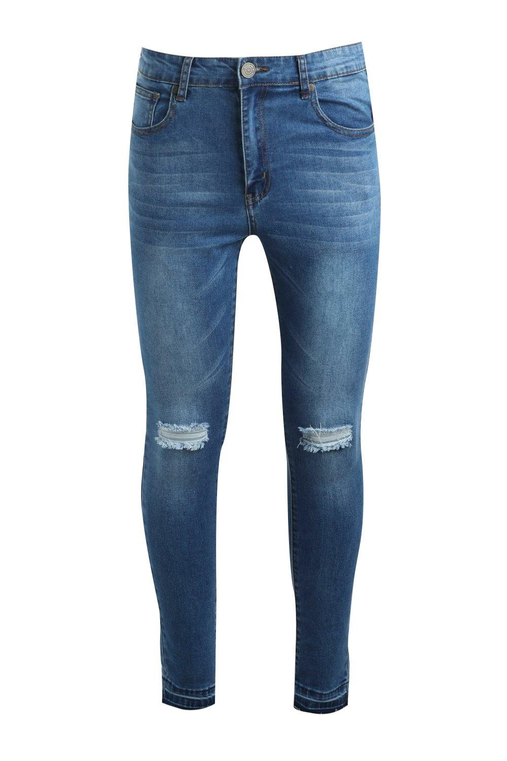 Spray blue mid Edge On Raw Distressed Jeans Skinny r8rPqwFx
