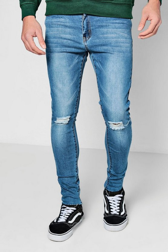Spray On Skinny Raw Edge Distressed Jeans