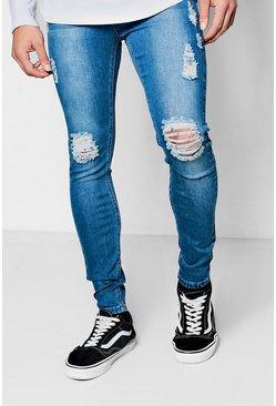 Mens Mid blue Ripped Knee Spray On Skinny Jeans