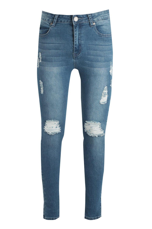 Jeans blue Knee Skinny Ripped On mid Spray 0xnHqqSUwg