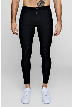 Black Super Skinny Jeans With Raw Hem, Uomo