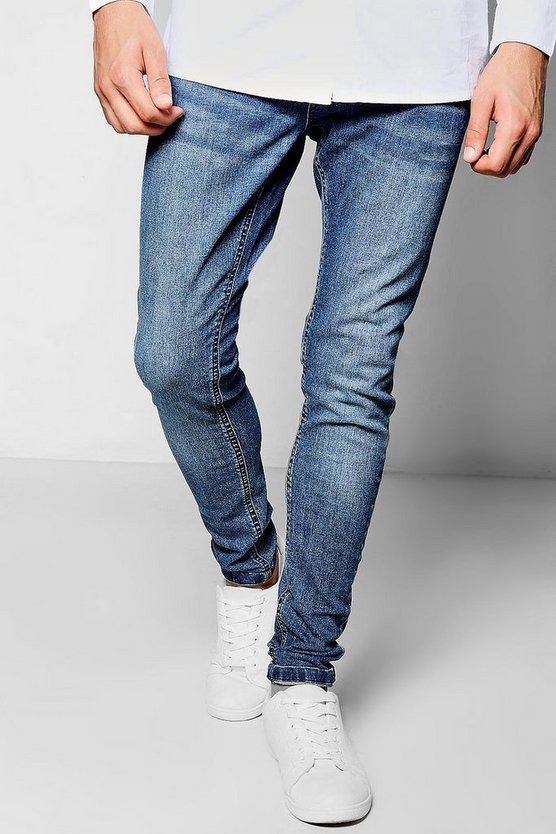 Mid Blue Super Skinny Fit Denim Jeans
