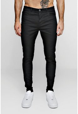 Black Stretch Skinny Jeans With Ripped Knees, Uomo