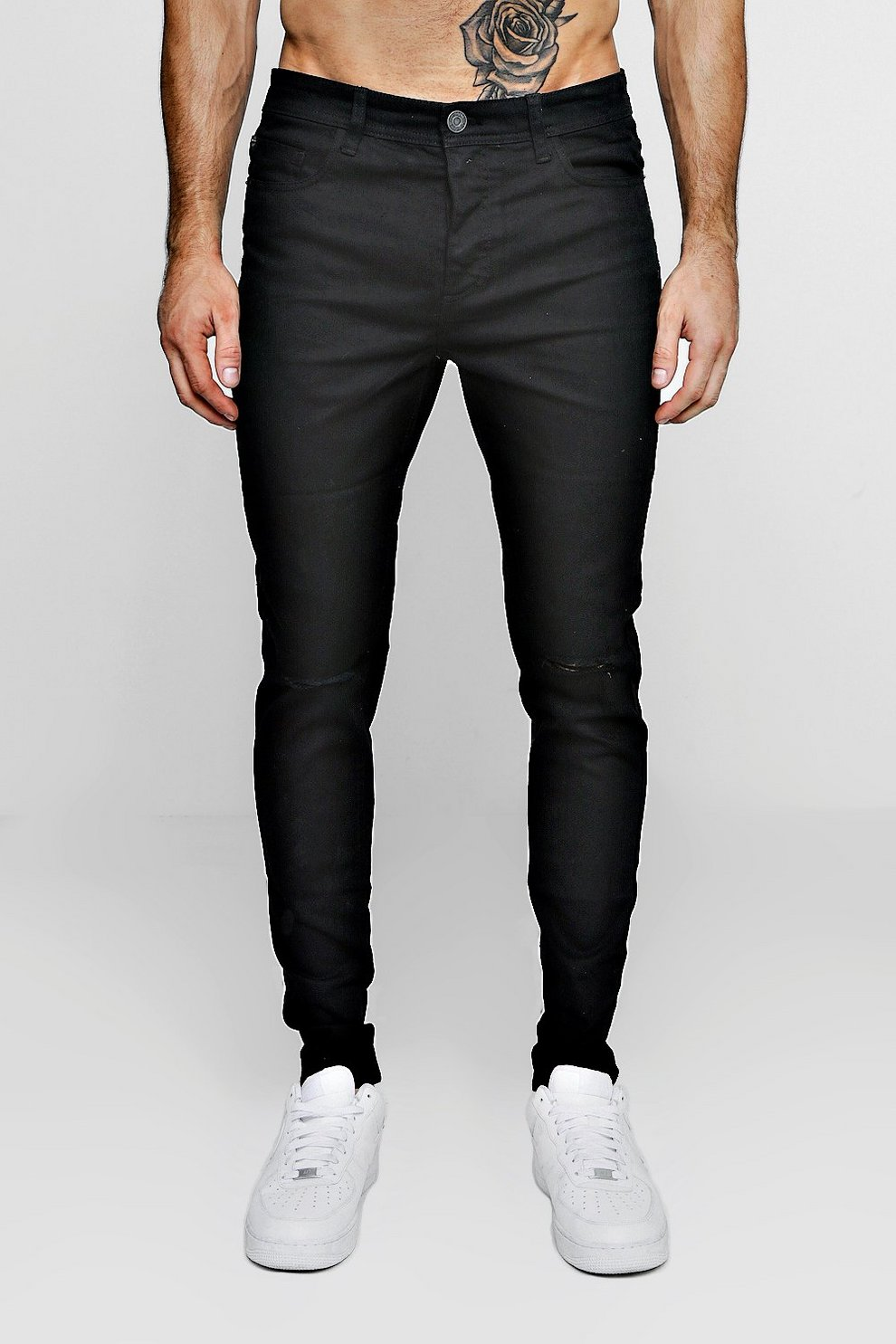 37cd25feaa75 Black Stretch Skinny Jeans With Ripped Knees | Boohoo