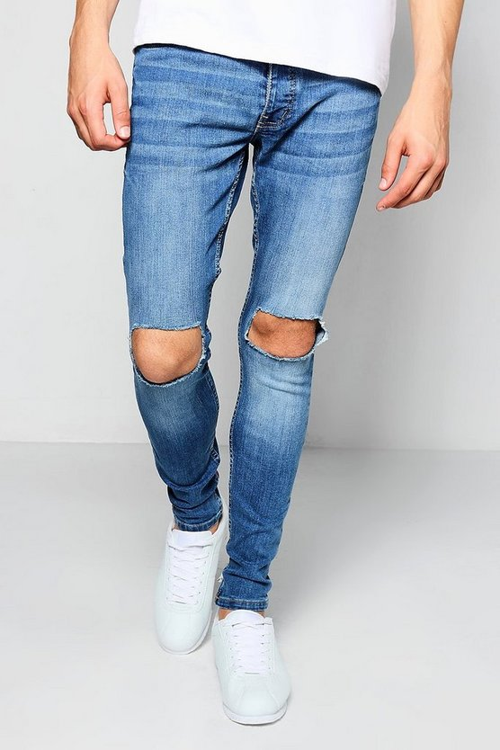 Mid Blue Super Skinny Ripped Knee Jeans