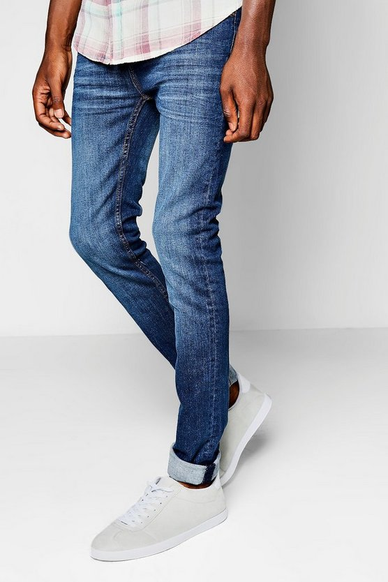 Mens Mid blue Super Skinny Fit Mid Blue Jeans