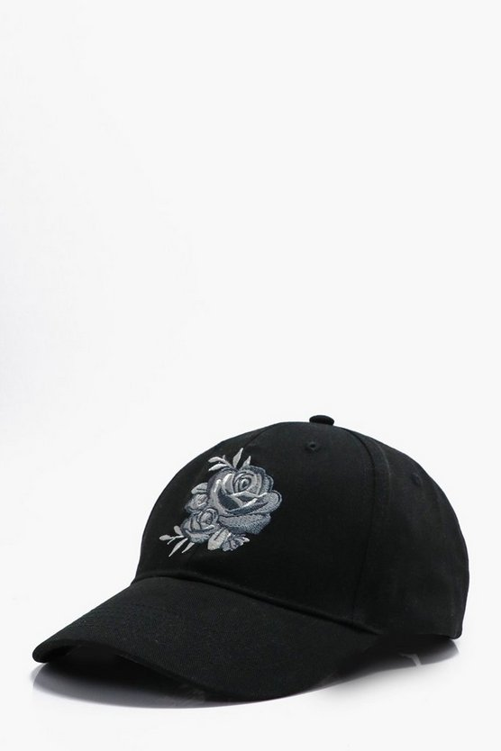 Silver Rose Embroidered Baseball Cap