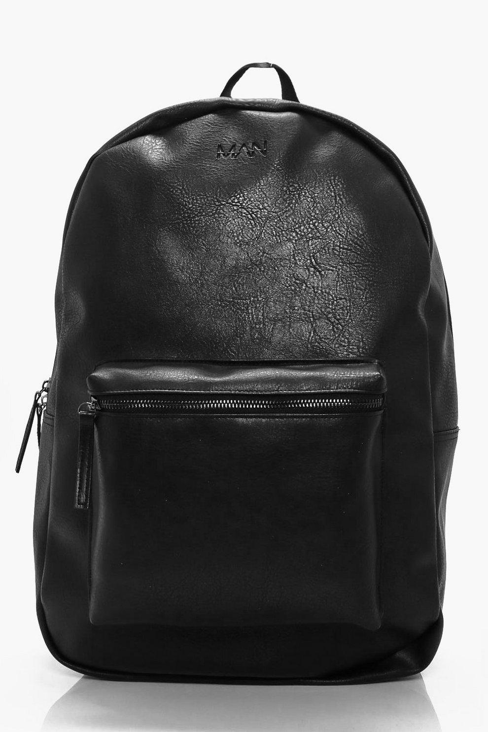 533515fd4 Black Leather Look Backpack | Boohoo