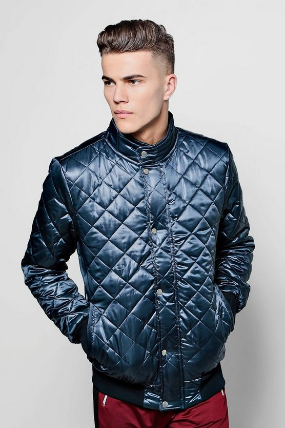 Diamond Quilted Funnel Neck Jacket
