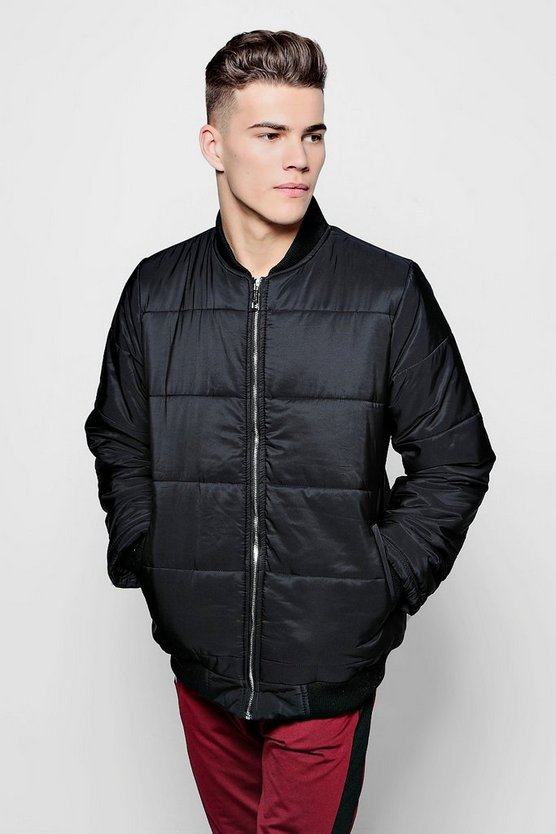 Black Quilted Jacket With Bomber Neck