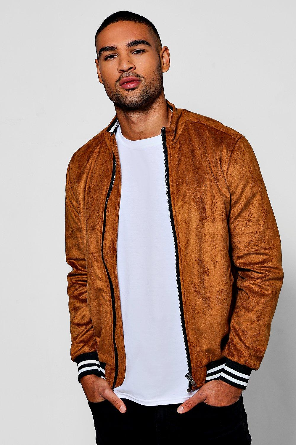 good quality diversified in packaging high quality guarantee Tan Faux Suede Bomber Jacket | Boohoo