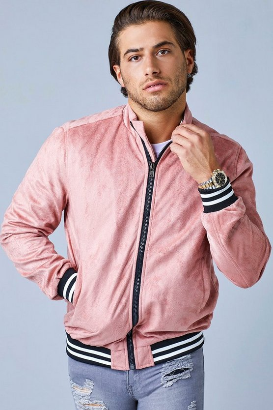 Pink Faux Suede Bomber Jacket