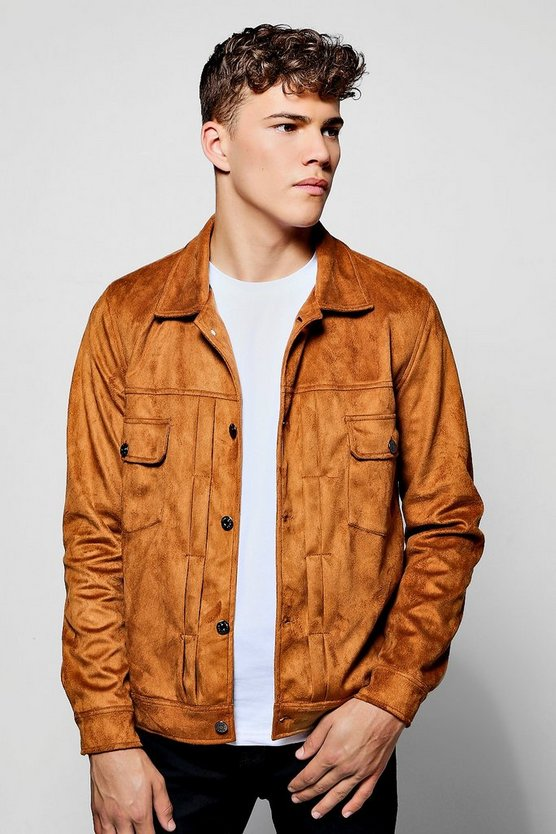 Tan Faux Suede Pleated Trucker Jacket