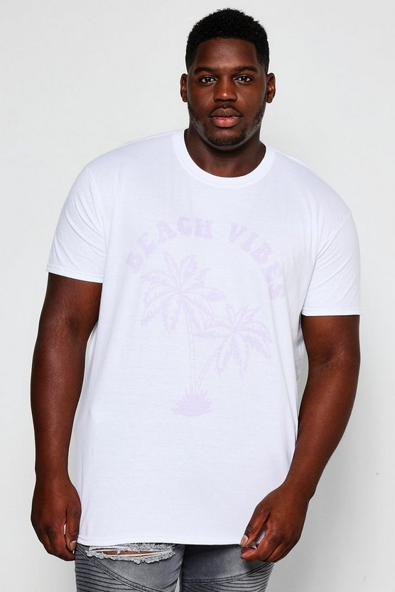 T-Shirt de plage blanc Vibes Big And Tall