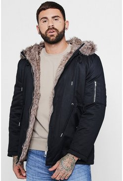 Mens Black Cotton Padded Parka With Faux Fur Hood