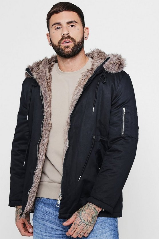 Cotton Padded Parka With Faux Fur Hood