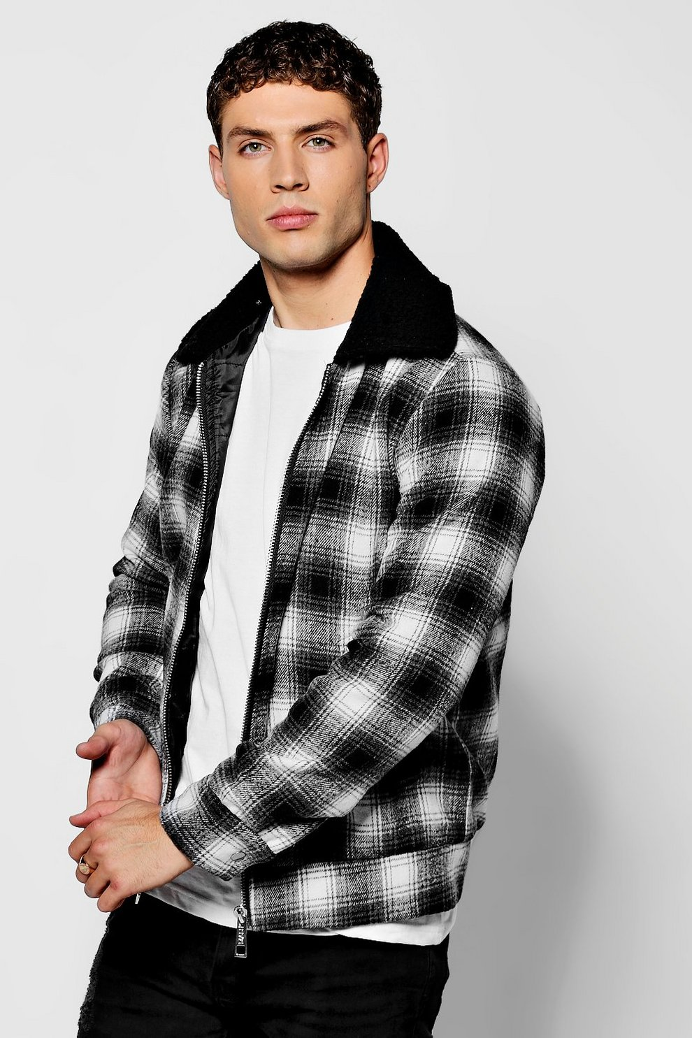 Carreaux Harrington Mouton À Boohoo Col Veste Noir RfUvWqvT