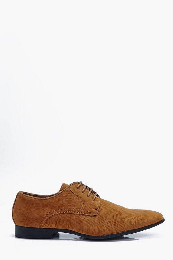 Faux Suede Texture Lace Up Smart Shoes