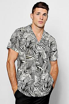 1950s Style Mens Shirts Tonal Leaf Print Short Sleeve Shirt $36.00 AT vintagedancer.com