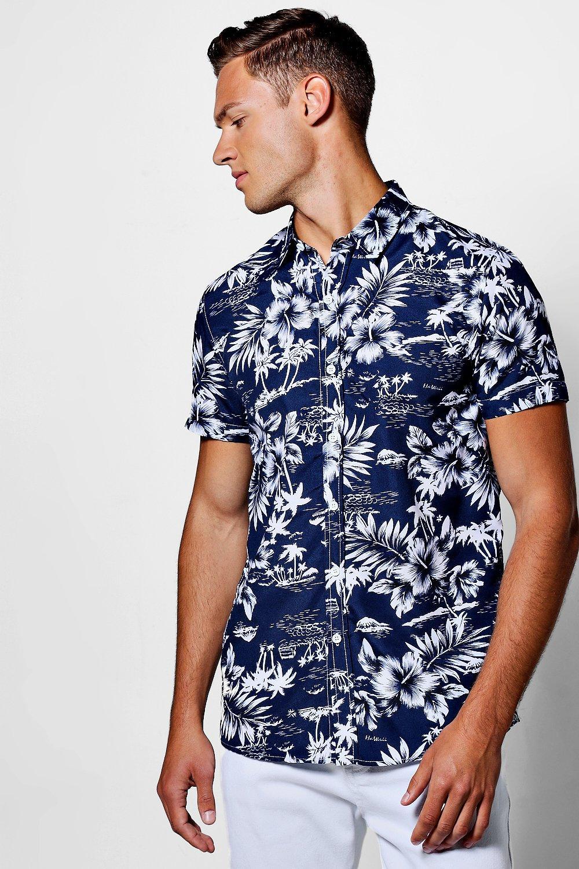 3dd24373 Navy Tropical Floral Short Sleeve Shirt | Boohoo