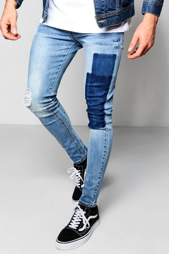 Spray On Skinny Patch Work Washed Jeans