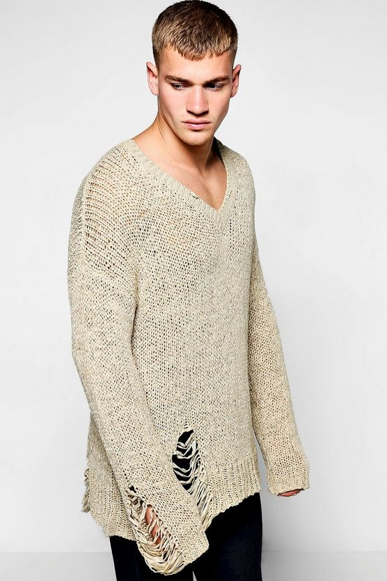 V Neck Distressed Knitted Jumper