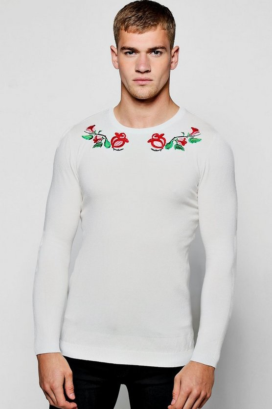 Long Sleeve Rose Embroidered Knitted Jumper