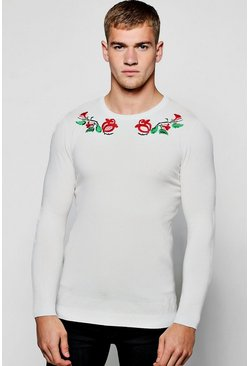 Mens White Long Sleeve Rose Embroidered Knitted Jumper
