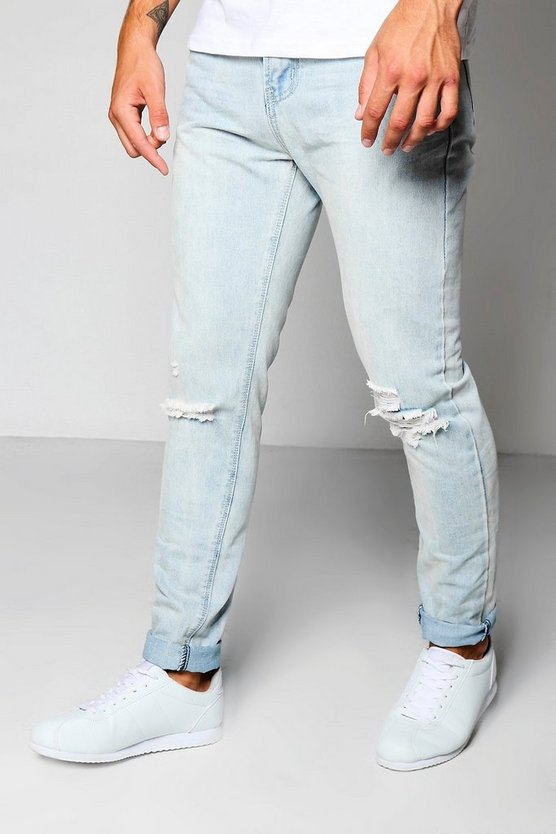 Pale Blue Skinny Jeans With Ripped Knees