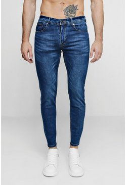 Skinny Fit Denim Jeans, Mid blue, Uomo
