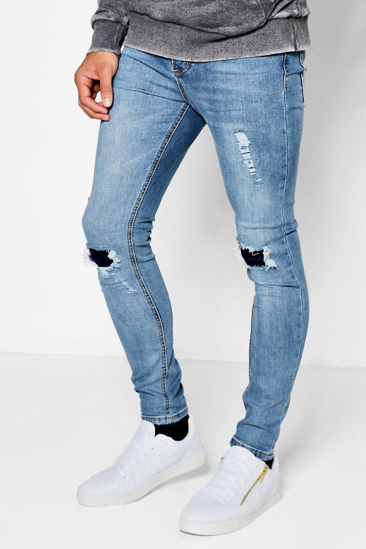 Blue Wash Rip Repair Knee Super Skinny Jeans Boohooman Uk