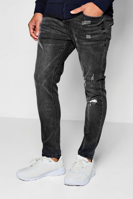 Skinny Fit Ankle Grazer Jeans Single Knee Rip
