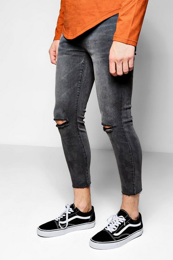 Charcoal Skinny Fit Cropped Denim Jeans