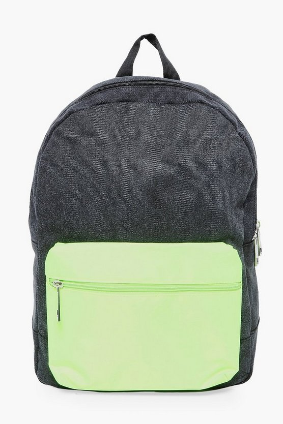 Mens Black Nylon Backpack With Contrast Pack