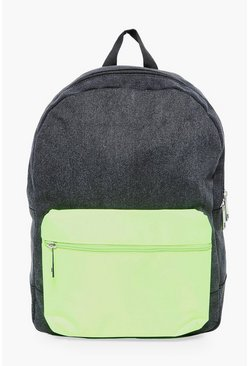 Nylon Backpack With Contrast Pack, Черный, Мужские