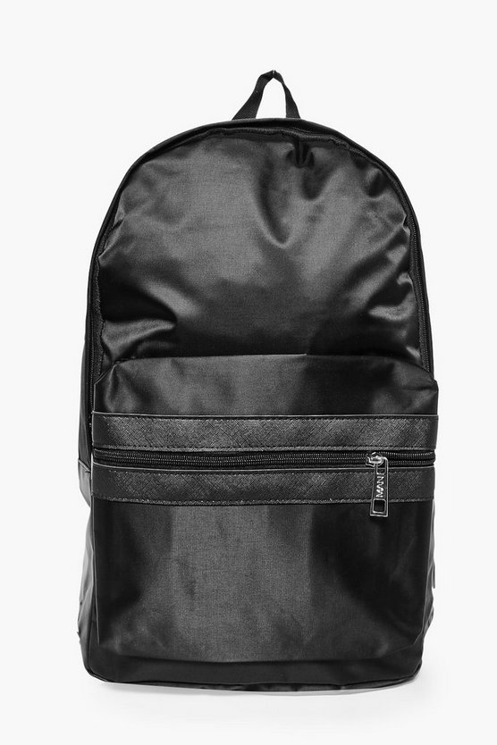 Black Nylon Backpack With Contrast Trim