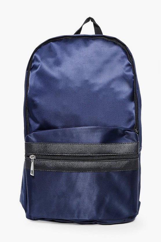 Navy Nylon Backpack With Contrast Trim