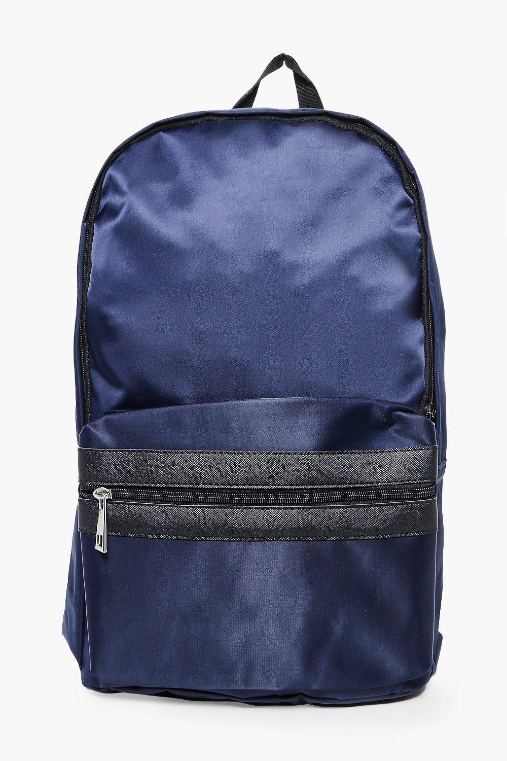 fb853bbe0 Navy Nylon Backpack With Contrast Trim - boohooMAN