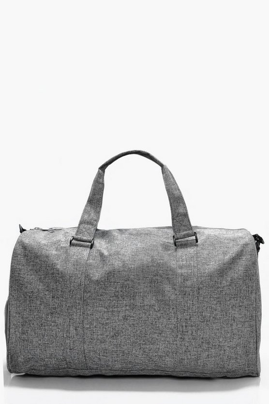 Mens Grey Textured Holdall