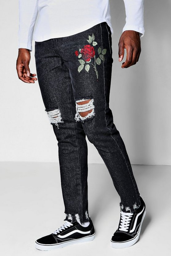 Slim Fit Rose Embroidered Jeans